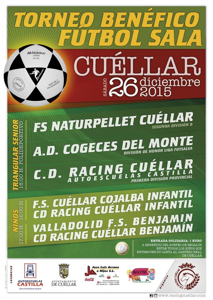Cartel del Torneo benéfico de fútbol sala de Cuéllar 2015